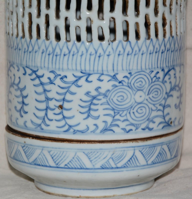 Blue and White Asian Pierced Ceramic Incense Burner, 20th Century For Sale 2