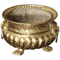 Early 1900s Brass Repousse Jardinière from France