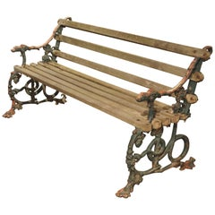 Early 1900s Cast Iron and Wood Bench with Dog Head and Serpent Supports