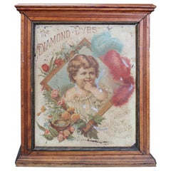 Early 1900s Diamond Dyes 'Baby' Lithograph Display Cabinet