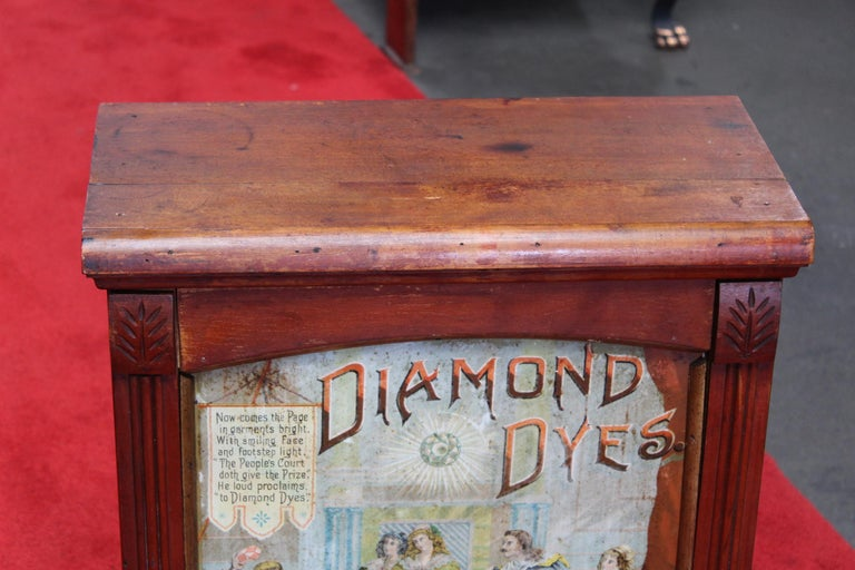Diamond dyes wooden counter top display cabinet