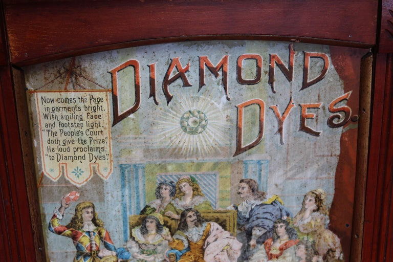 Early 1900s Diamond Dyes Lithograph Display Cabinet In Fair Condition For Sale In Orange, CA