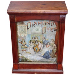 Early 1900s Diamond Dyes Lithograph Display Cabinet