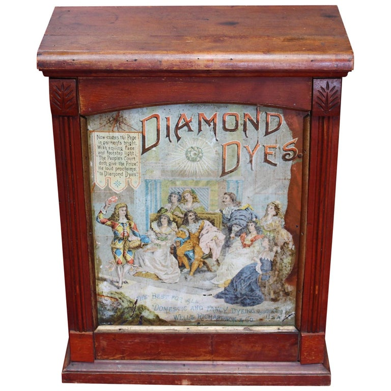 Early 1900s Diamond Dyes Lithograph Display Cabinet For Sale