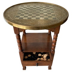 Early 1900s Dutch Arts & Crafts Checkers/Draughts Table with Embossed Brass Top