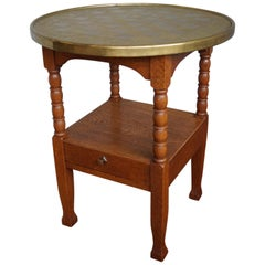 Early 1900s Dutch Arts and Crafts Chess Table with Drawer and Embossed Brass Top
