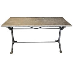 Early 1900s French Bistro or Cafe Table with Stone Top and Wrought Iron Base