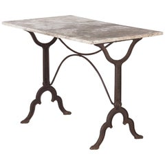 Early 1900s French Bistro Table with Marble Top Marked E.Ringuet