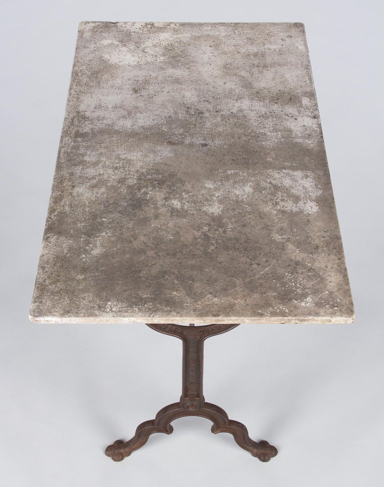 Industrial Early 1900s French Bistro Table with Marble Top Marked E.Ringuet For Sale