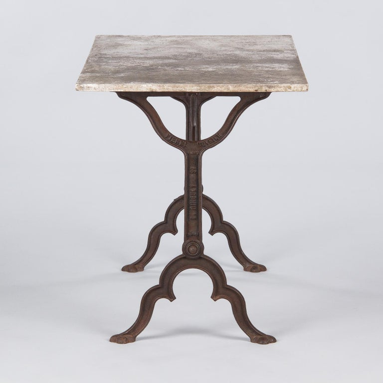Early 1900s French Bistro Table with Marble Top Marked E.Ringuet In Good Condition For Sale In Austin, TX