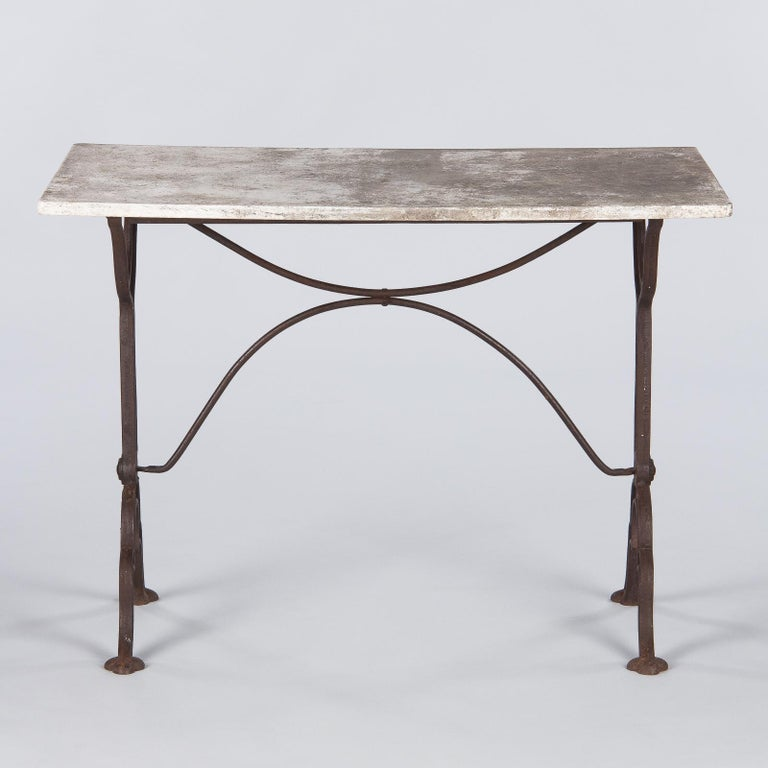 Early 1900s French Bistro Table with Marble Top Marked E.Ringuet For Sale 1