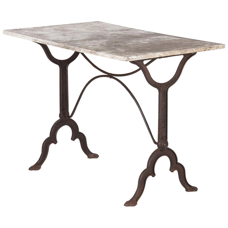 Early 1900s French Bistro Table with Marble Top Marked E.Ringuet For Sale
