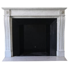 Early 1900s French Regency Carved Carrara Marble Mantel from Waldorf Astoria