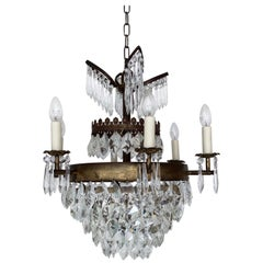 Early 1900s French Waterfall Chandelier with Crystal Iceberg Drops