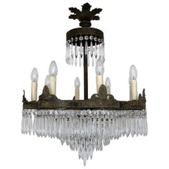 Early 1900s French Waterfall Petal Frame Chandelier with Glass Icicle Drops