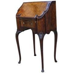 Early 1900s Georgian Style Walnut & Burl Inlaid Ladies Secretary Desk by Gillow