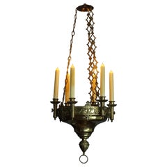 Early 1900s Gothic Revival Brass and Bronze Church Candle Chandelier / Pendant