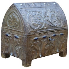 Early 1900s Gothic Revival Embossed Copper & Inlaid Stones Wooden Box with Key
