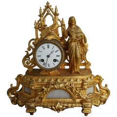 Early 1900s Gothic Revival Gilt Table Clock w. Christ Holding Lamb Sculpture