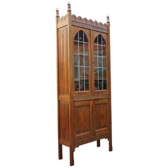 Early 1900s Gothic Revival Tall Bookcase/ Cabinet with Stained Glass Windows