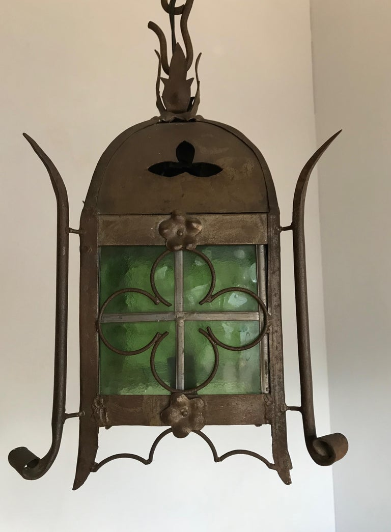 Early 1900s Gothic Revival Wrought Iron and Stained Glass Lantern, Lamp, Fixture For Sale 7