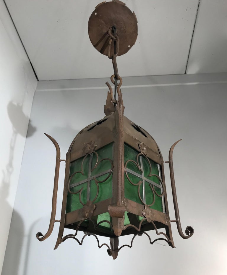Early 1900s Gothic Revival Wrought Iron and Stained Glass Lantern, Lamp, Fixture For Sale 8