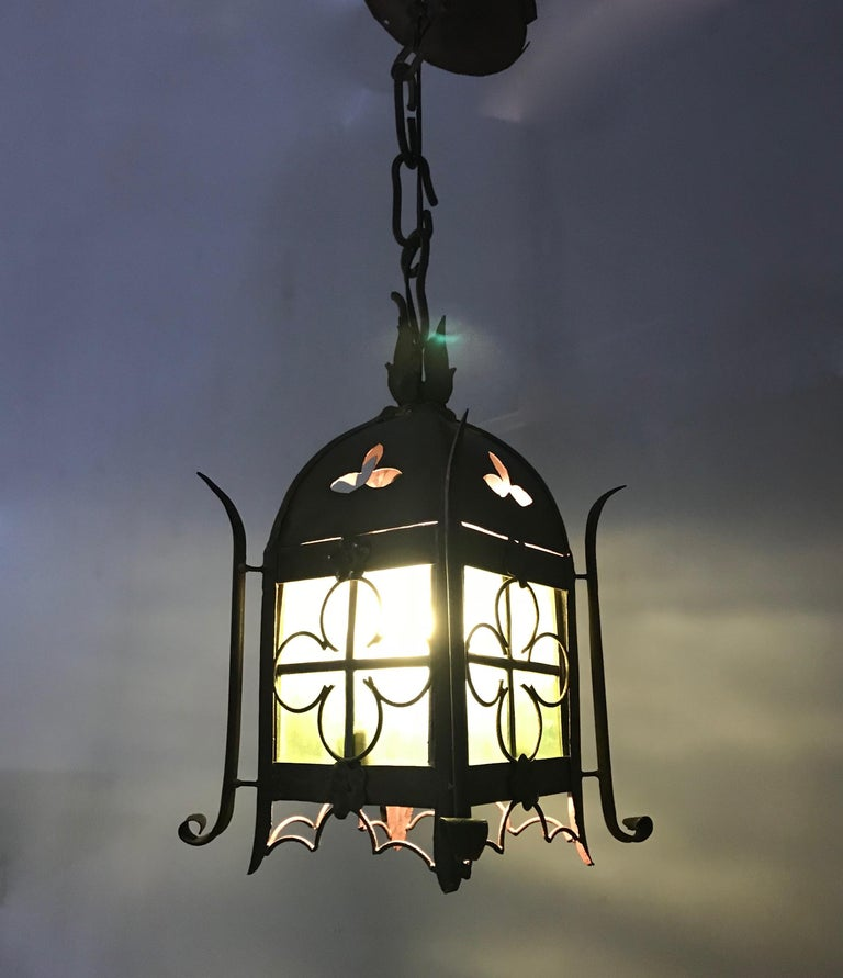 Early 1900s Gothic Revival Wrought Iron and Stained Glass Lantern, Lamp, Fixture For Sale 9