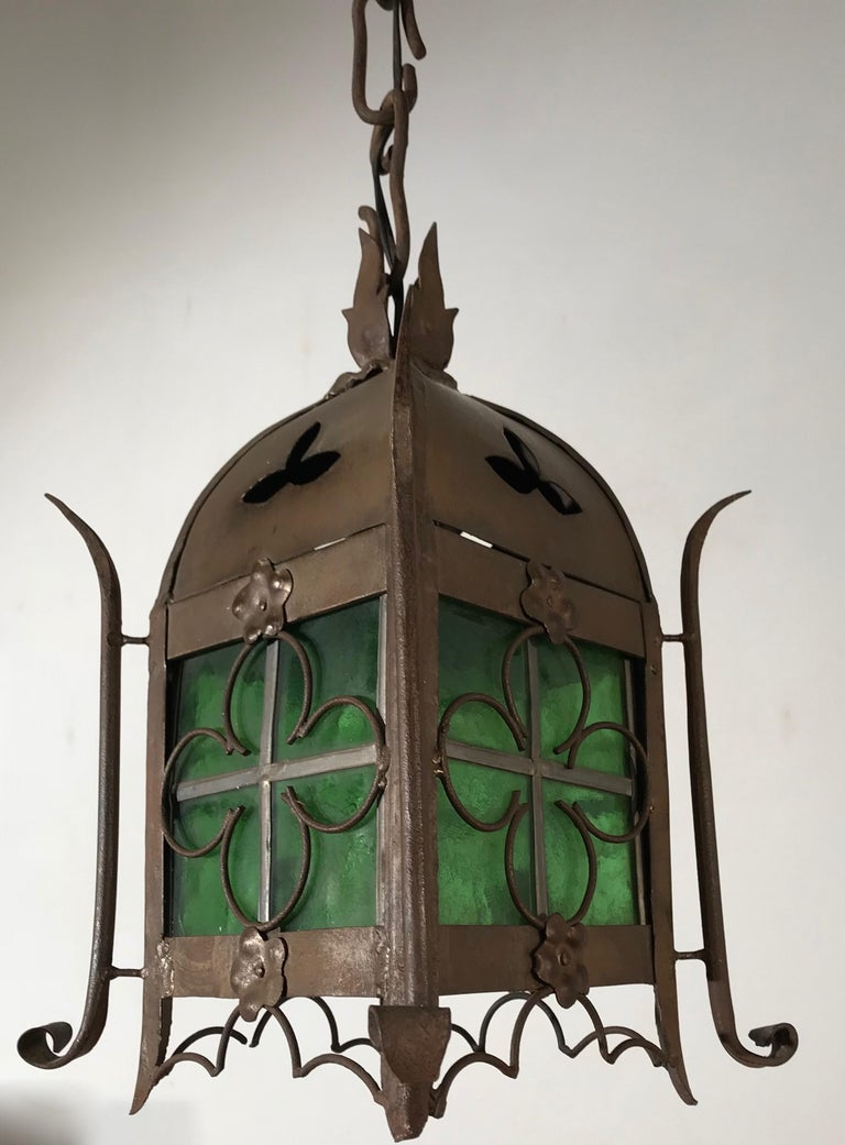 Early 1900s Gothic Revival Wrought Iron and Stained Glass Lantern, Lamp, Fixture For Sale 10