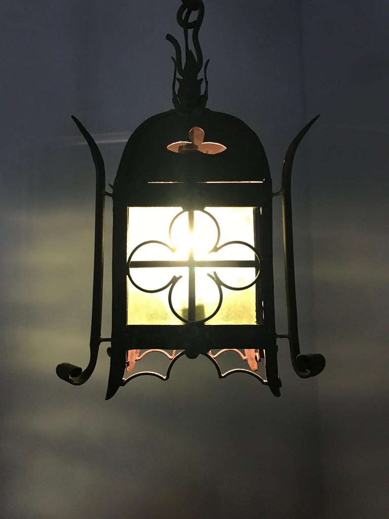 Early 1900s Gothic Revival Wrought Iron and Stained Glass Lantern, Lamp, Fixture For Sale 11