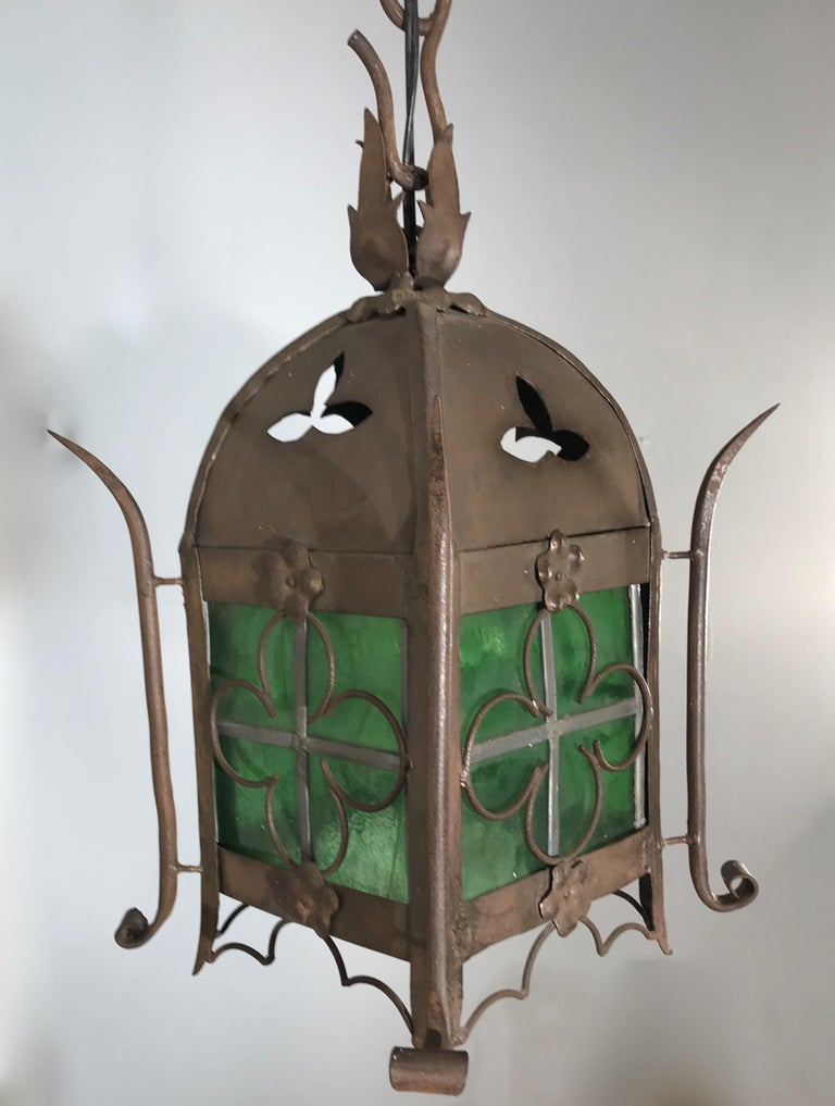 Early 1900s Gothic Revival Wrought Iron and Stained Glass Lantern, Lamp, Fixture For Sale 13