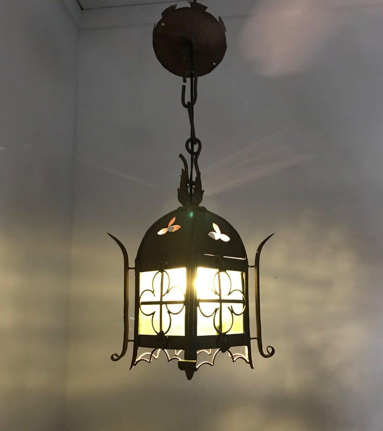 Early 1900s Gothic Revival Wrought Iron and Stained Glass Lantern, Lamp, Fixture For Sale 14