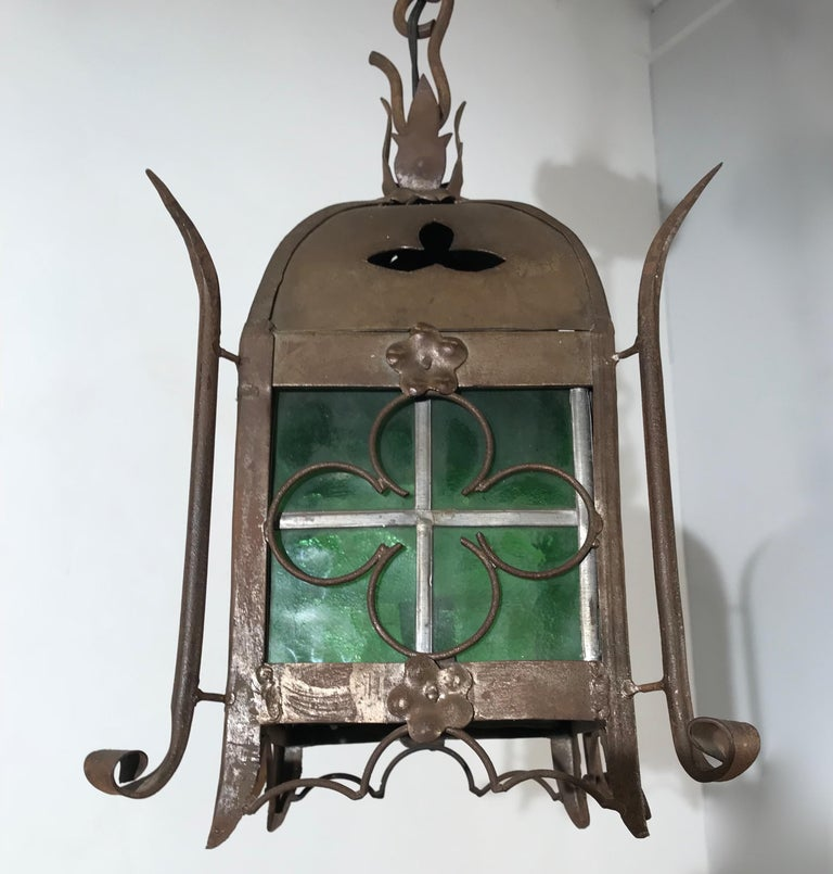 Arts and Crafts Early 1900s Gothic Revival Wrought Iron and Stained Glass Lantern, Lamp, Fixture For Sale