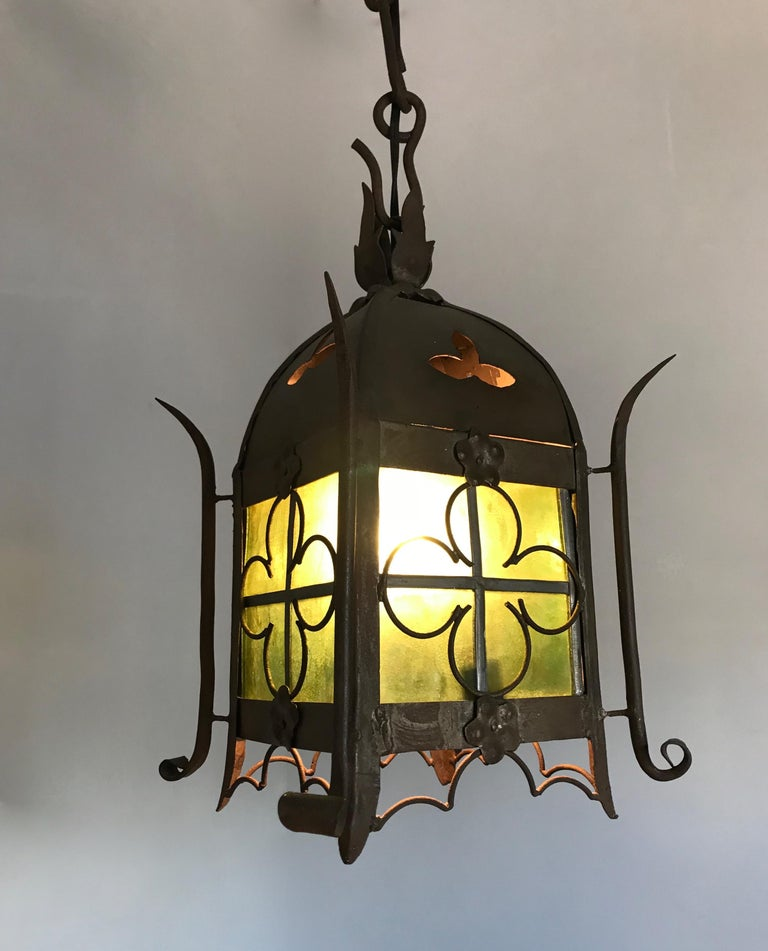 French Early 1900s Gothic Revival Wrought Iron and Stained Glass Lantern, Lamp, Fixture For Sale