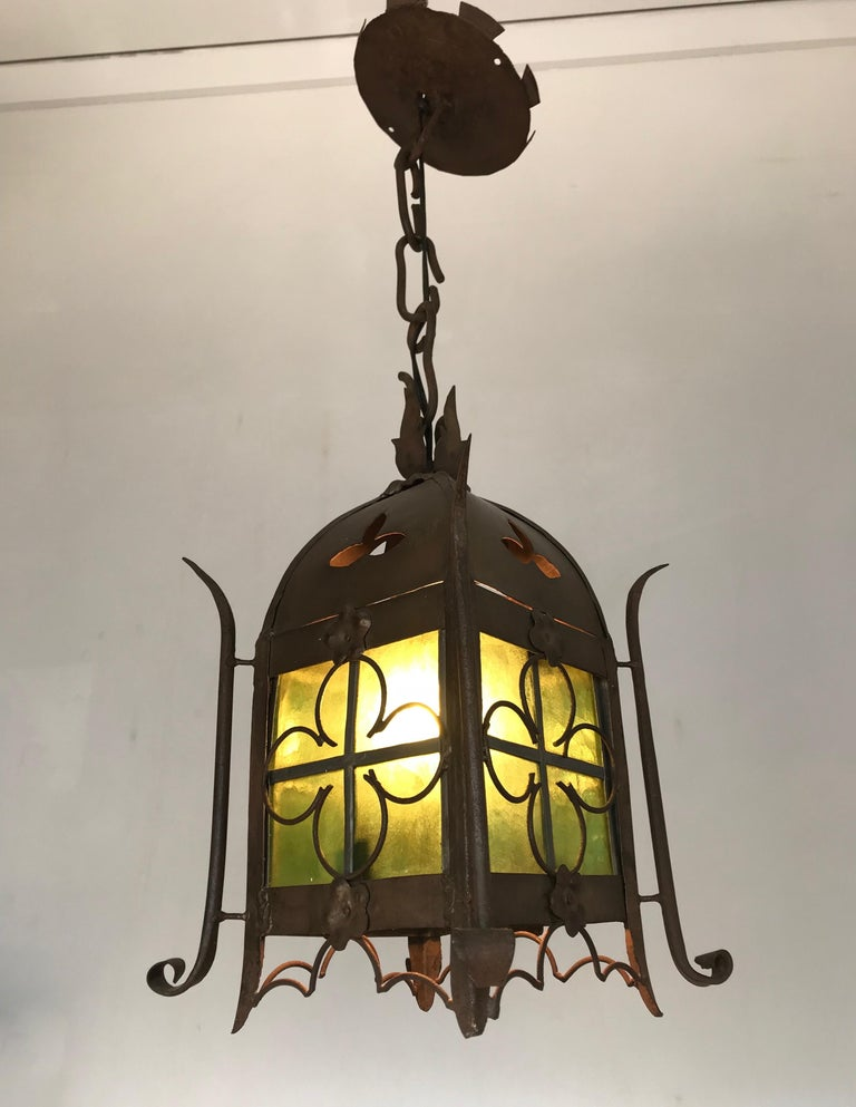 Early 1900s Gothic Revival Wrought Iron and Stained Glass Lantern, Lamp, Fixture In Excellent Condition For Sale In Lisse, NL