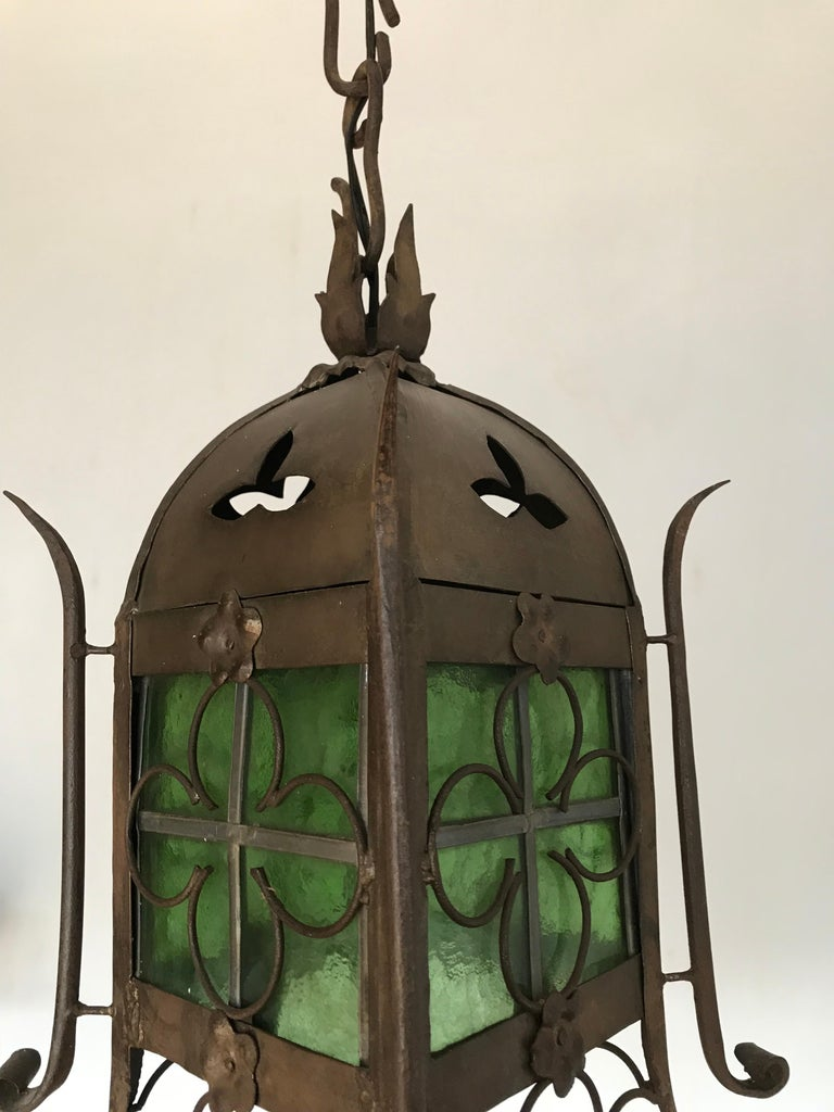 Early 1900s Gothic Revival Wrought Iron and Stained Glass Lantern, Lamp, Fixture For Sale 1