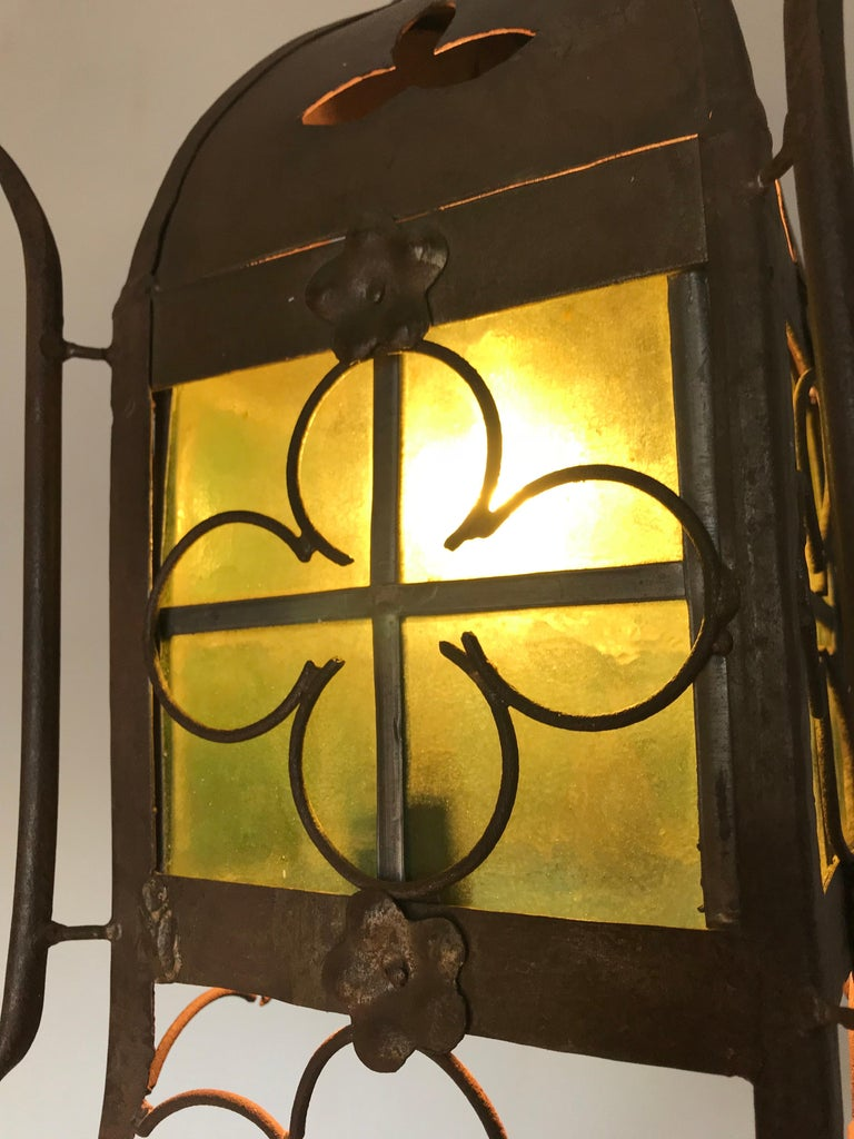 Early 1900s Gothic Revival Wrought Iron and Stained Glass Lantern, Lamp, Fixture For Sale 2
