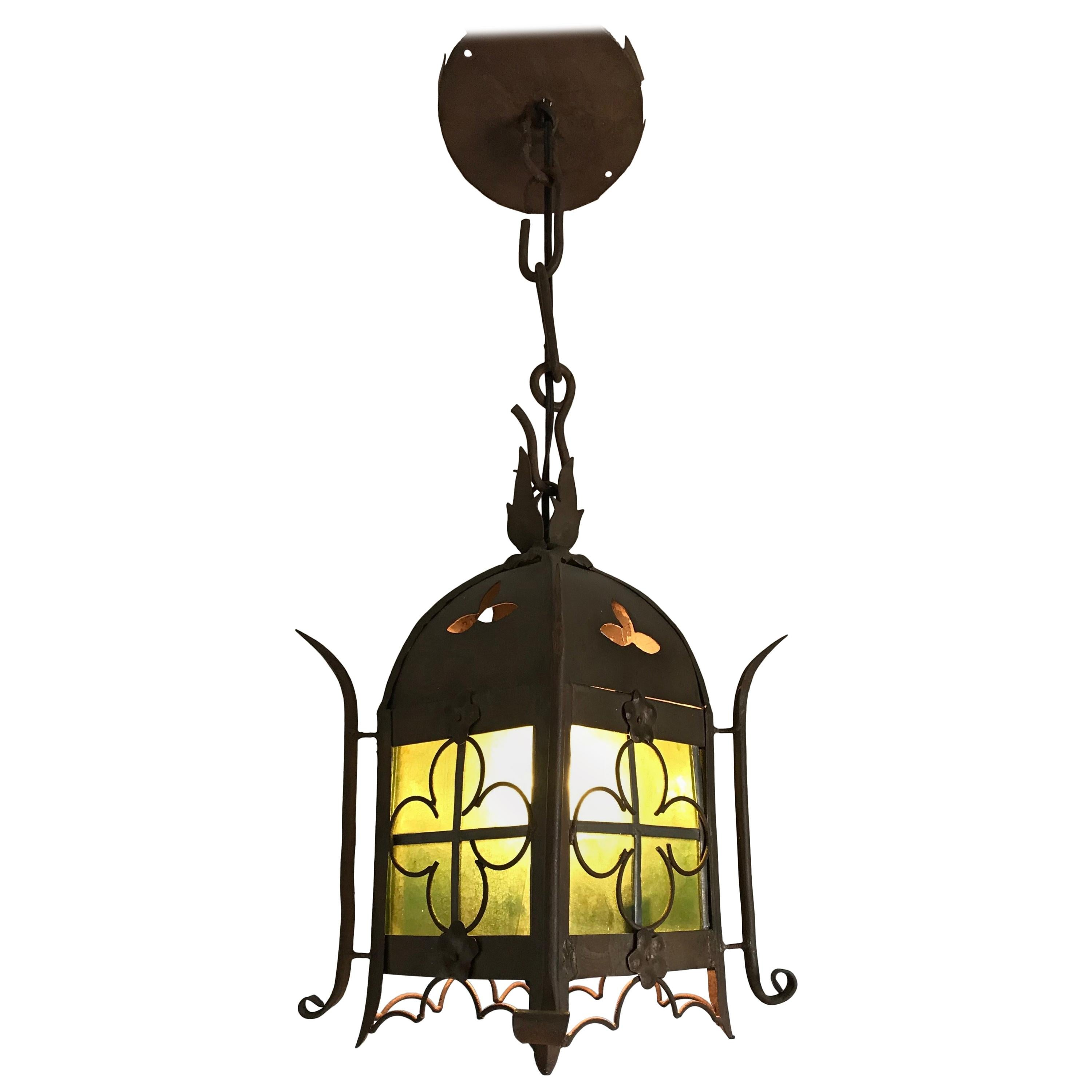 Early 1900s Gothic Revival Wrought Iron and Stained Glass Lantern / Fixture