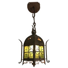 Early 1900s Gothic Revival Wrought Iron and Stained Glass Lantern, Lamp, Fixture
