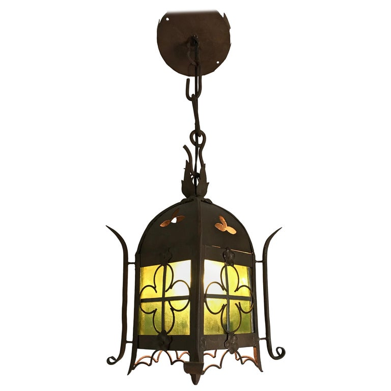 Early 1900s Gothic Revival Wrought Iron and Stained Glass Lantern, Lamp, Fixture For Sale