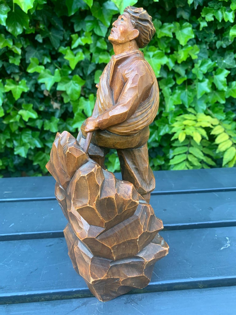 Early 1900s Hand Carved and Colored Wooden Mountaineer Sculpture / Statue For Sale 5