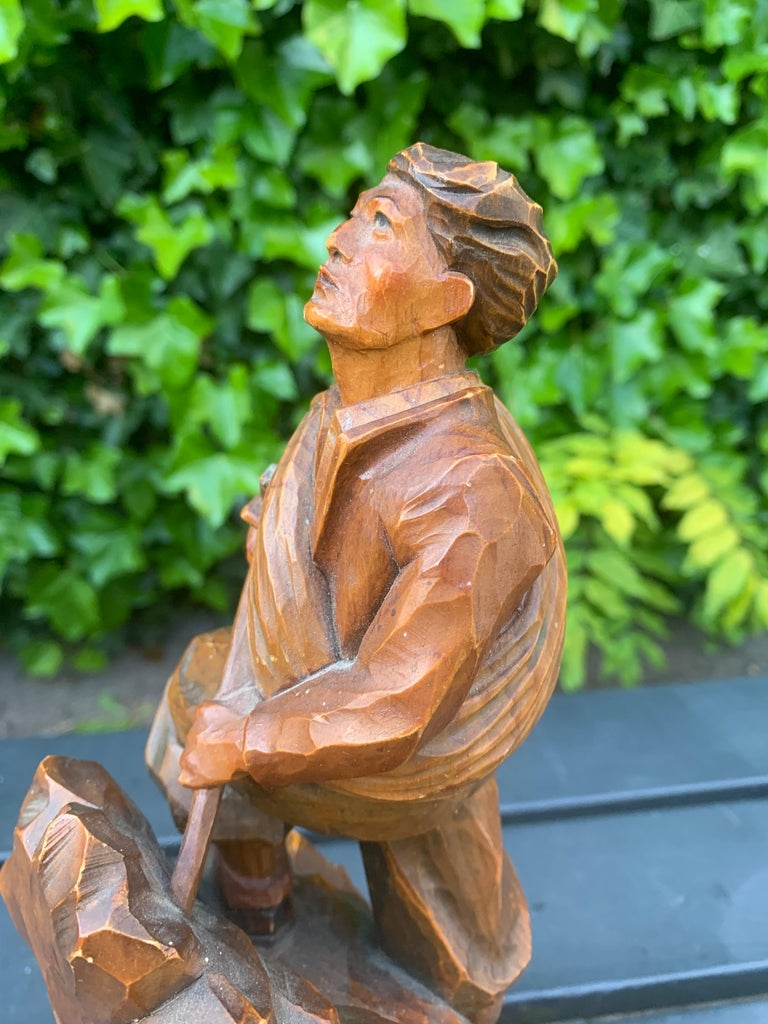 Early 1900s Hand Carved and Colored Wooden Mountaineer Sculpture / Statue For Sale 6