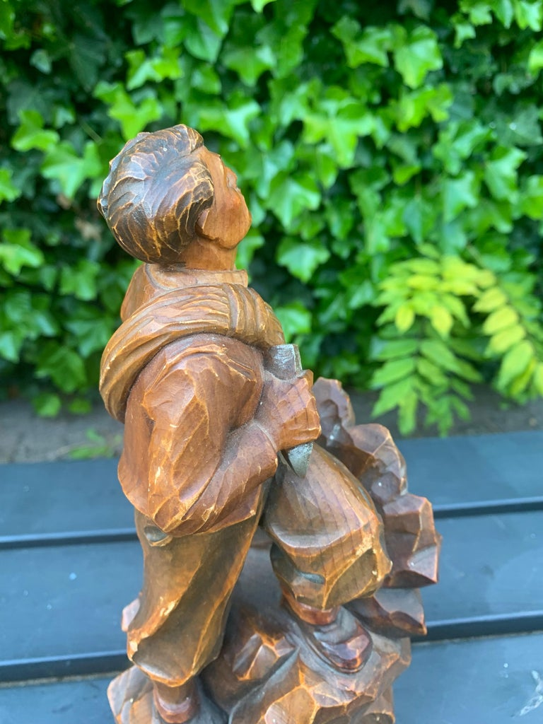 Early 1900s Hand Carved and Colored Wooden Mountaineer Sculpture / Statue For Sale 7