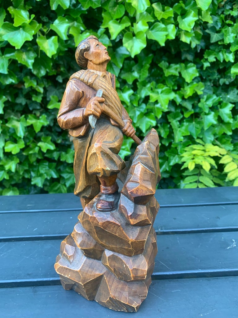 Early 1900s Hand Carved and Colored Wooden Mountaineer Sculpture / Statue For Sale 8