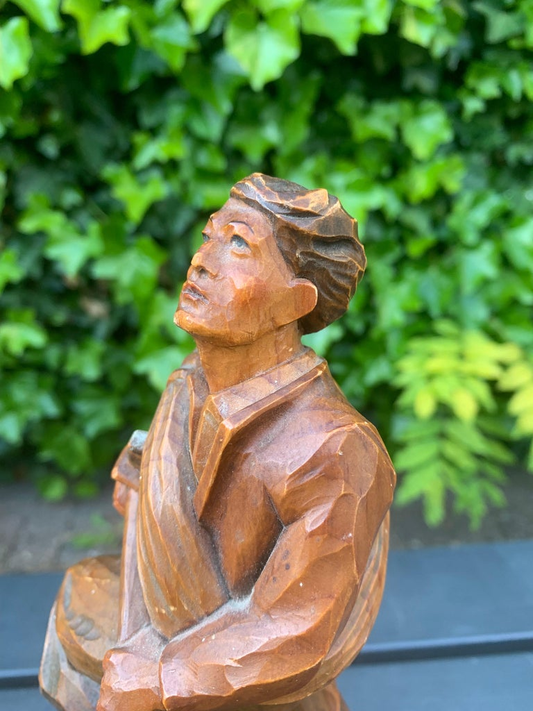 Italian Early 1900s Hand Carved and Colored Wooden Mountaineer Sculpture / Statue For Sale
