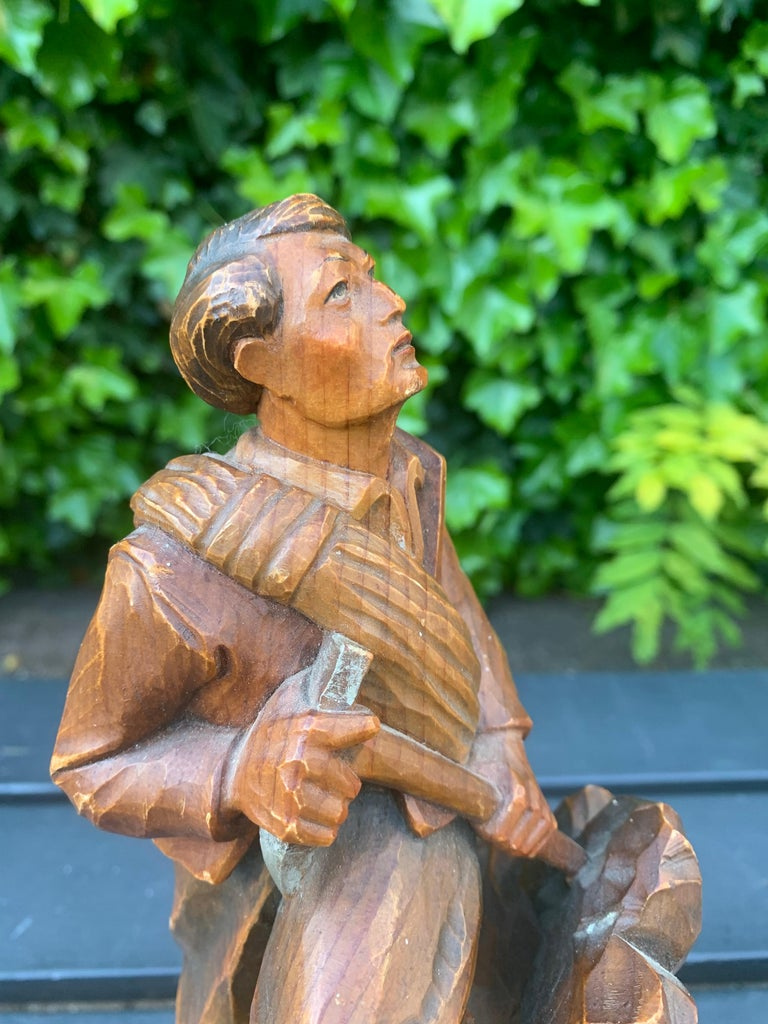 Early 20th Century Early 1900s Hand Carved and Colored Wooden Mountaineer Sculpture / Statue For Sale