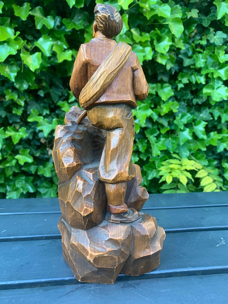 Early 1900s Hand Carved and Colored Wooden Mountaineer Sculpture / Statue For Sale 2