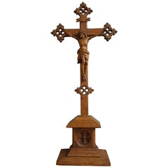 Early 1900s Hand Carved Gothic Revival Table Crucifix with Corpus of Christ 1910