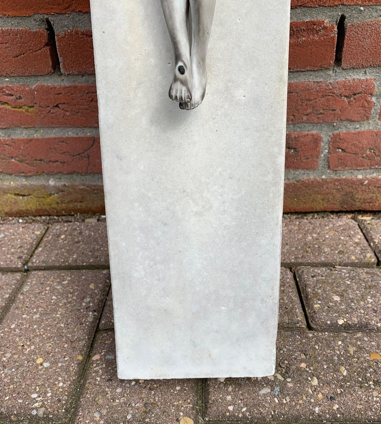 Early 1900s Hand Carved Marble Crucifix / Wall Cross with Jesus Christ Sculpture For Sale 5