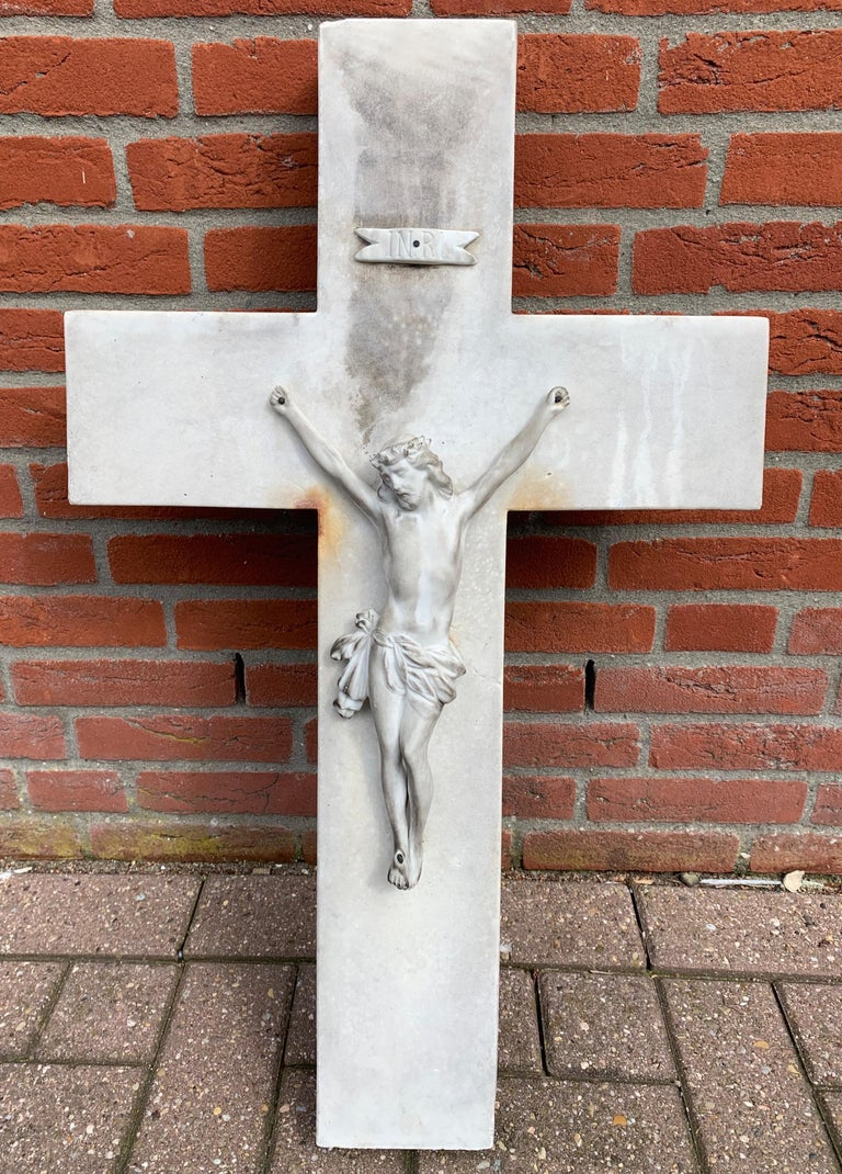 Early 1900s Hand Carved Marble Crucifix / Wall Cross with Jesus Christ Sculpture For Sale 7
