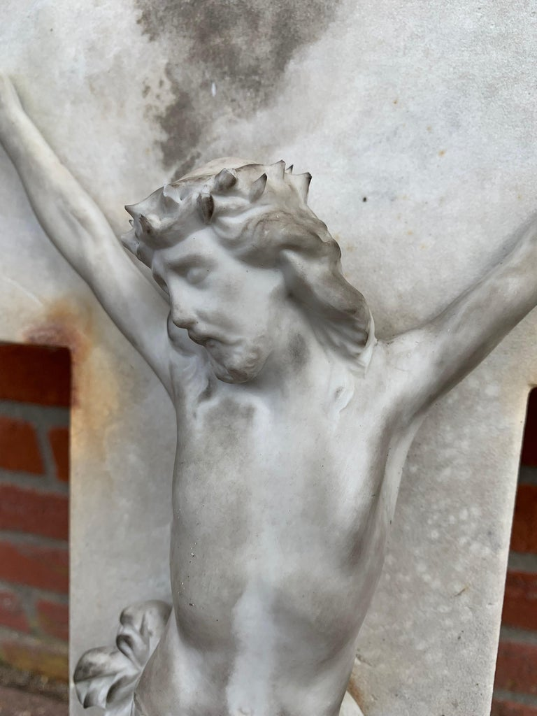 Early 1900s Hand Carved Marble Crucifix / Wall Cross with Jesus Christ Sculpture For Sale 9